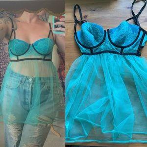 Victoria's Secret blue cage teddy lingerie 36C